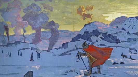 Signal Fires of Peace by Nikolai Roerich Konstantinovich Roeric.